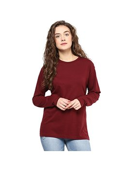 Hypernation Maroon Color Round Neck Cotton T Shirt For Women by Hypernation
