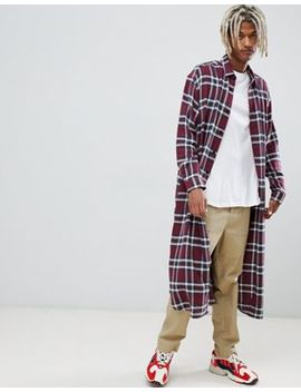 Asos Design Super Longline Check Shirt In Burgundy by Asos Design