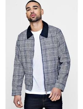 Cord Collar Prince Of Wales Check Harrington by Boohoo
