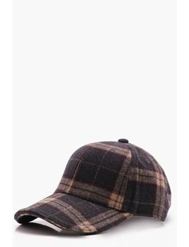 Grey Wool Check Cap by Boohoo