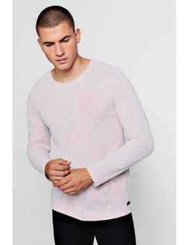 Long Sleeve Slub Melange T Shirt by Boohoo