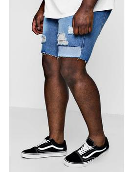 big-and-tall-panelled-distressed-denim-shorts by boohoo