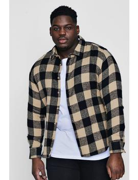 Big And Tall Camel Large Check Shirt by Boohoo