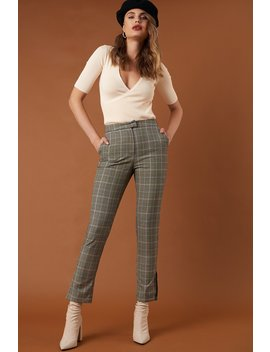 Slit Detail Suit Pants Checkered by Na Kd