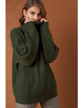 Big Chunky Knitted Sweater Khaki Green by Na Kd