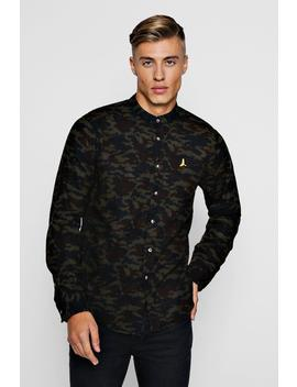Brushed Flannel Camo Grandad Collar Shirt by Boohoo