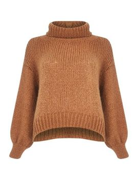 Petite Beige Roll Neck Chunky Knit Jumper by River Island