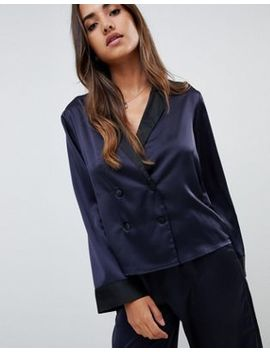 Asos Design Double Breasted Contrast Satin Pyjama Shirt by Asos Design