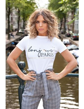 Towie White And Gold Bonjour Print T Shirt by Quiz