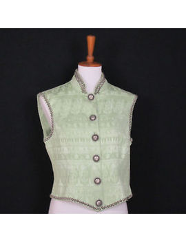 Double D Ranch Wear Size S Studded Vest Top Green Jacquard Button Front by Double D Ranch