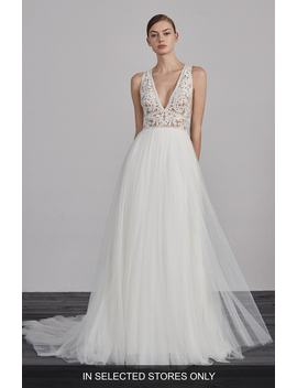 Espiga V Neck Lace & Tulle Gown by Pronovias