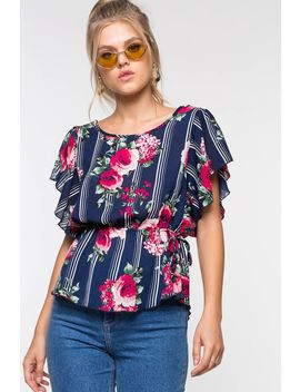 Floral Stripe Peplum Blouse by A'gaci