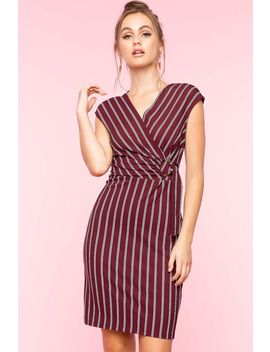 Stripe Surplice Bodycon Dress by A'gaci