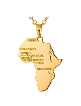 U7 Hiphop Africa Map Pendant Necklace, Gold/Platinum/Rose Gold/Black Plated/925 Sterling Silver, Trendy Gift For Men/Women Ethiopian Jewellery African Necklace by U7