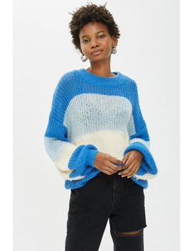Block Stripe Fluffy Jumper by Topshop