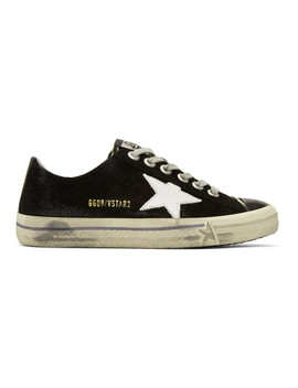 Black Suede V Star 2 Sneakers by Golden Goose