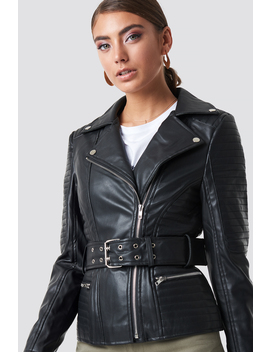Belted Faux Leather Jacket Black by Na Kd