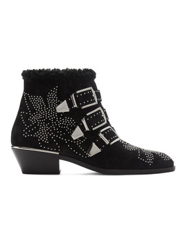 Black & Silver Suede Susanna Boots by ChloÉ