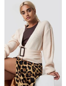 Belted Short Cardigan Offwhite by Na Kd
