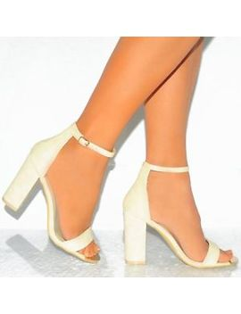 Ladies Strappy Ankle Gold Cuff Strap Open Toe Sandals Block High Heels Sizes 3 8 by Ebay Seller