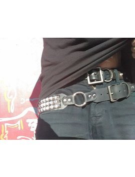 Pyramid Studded & O Ring Raw Punk Deathrock Unisex Heavy Metal Slouch Belt. by Etsy