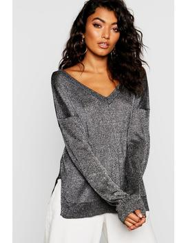 Metallic Jumper With V Neck by Boohoo