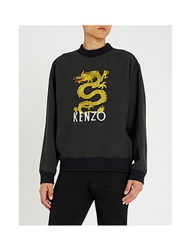 Dragon Embroidered Stretch Jersey Sweatshirt by Kenzo