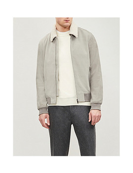 River Shearling Trim Suede Bomber Jacket by Reiss