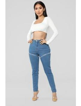 Zip Around Town Jeans   Medium Blue Wash by Fashion Nova