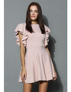 Pastel Pink Knitted Skater Dress With Frilling Sleeves by Chicwish