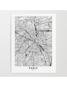 Paris White Map Poster by