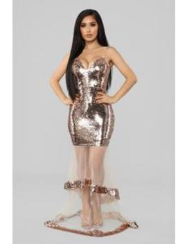 Dipped In Gold Mermaid Dress   Rose Gold by Fashion Nova