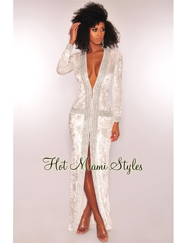 White Crushed Velvet Silver Rhinestone Duster Coat Maxi Dress by Hot Miami Style