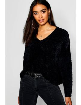 Oversized V Neck Boxy Crop Fluffy Knitted Jumper by Boohoo