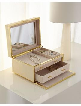 Luxe Faux Shagreen Jewelry Box, Cream by Aerin
