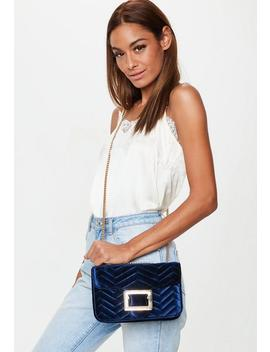 Blue Velvet Shoulder Bag by Missguided
