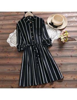Clover Dream   Long Sleeve Frill Collar Striped A Line Dress by Clover Dream