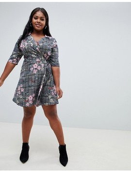 Influence Plus Check And Floral Print Wrap Dress by Plus Size Dress