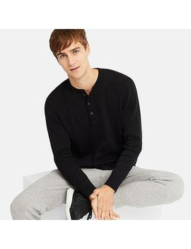 Men Waffle Henley Neck Long Sleeve T by Uniqlo