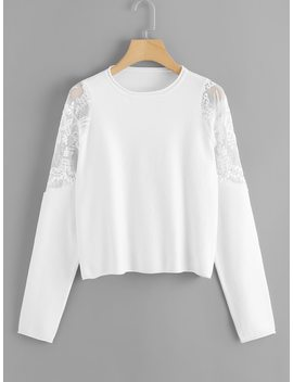 Embroidered Mesh Shoulder Soft Knit Sweater by Shein