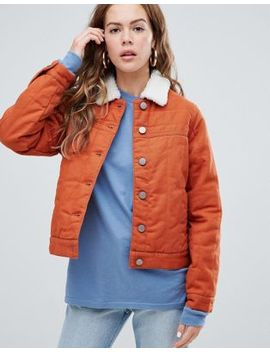 Asos Design Cropped Denim Wadded Jacket In Rust by Asos Design