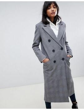 Asos Design Maxi Check Coat by Asos Design