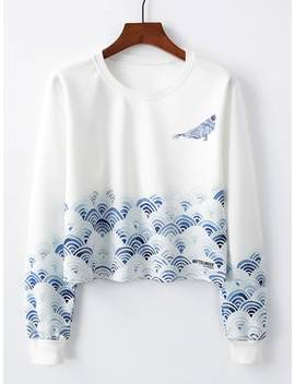 Blue And White Porcelain Print Pullover by Shein