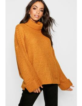 Rib Knit Wide Cuff Roll Neck Jumper by Boohoo