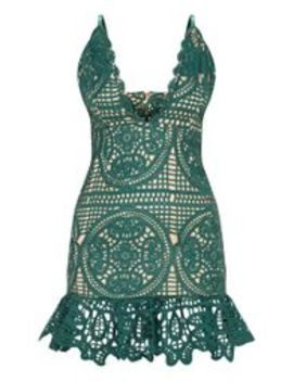 Emerald Green Strappy Thick Lace Frill Hem Bodycon Dress by Prettylittlething