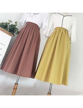 Viie   Elastic Waist A Line Midi Skirt by Viie