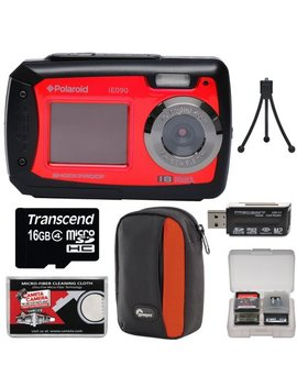 Polaroid I E090 Dual Screen Shock & Waterproof Digital Camera (Red) With 16 Gb Card + Case + Tripod + Reader + Kit by Polaroid