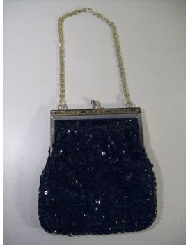 Vintage Women's Black Safram Beaded Sequin Purse Handbag Circa 1950's Hong Kong by Safram