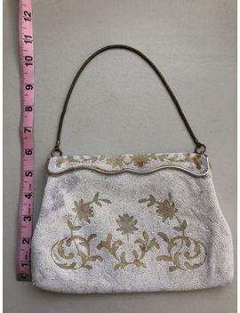 Vintage Women's White Beaded Purse Handbag Clutch Hand Made In France by Ebay Seller