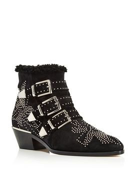 Women's Susan Pointed Toe Studded Suede & Shearling Booties by Chloé